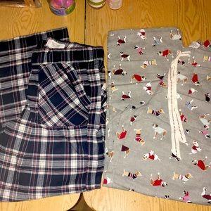 New 2 Cotton Flannel Pajama Pants Doggie/Plaid Med